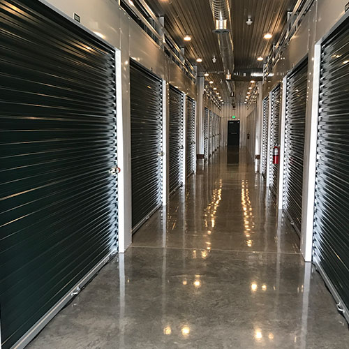 Photograph of a row of climate-controlled self storage units
