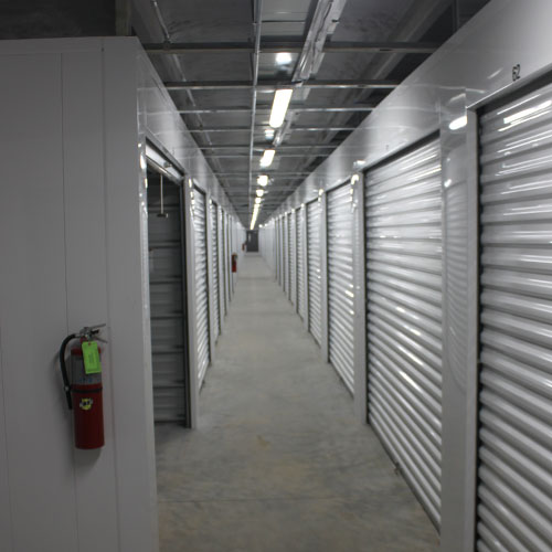 photograph of indoor self storage units in a climate-controlled building
