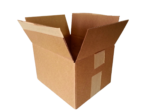 Photograph of an open cardboard packing box