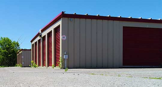 Self storage units photographed from the pavement